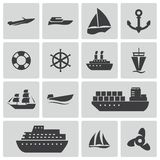 Vector Black Ship And Boat Icons Set Stock Images