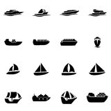 Vector black ship and boat icon set Stock Images