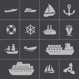 Vector black ship and boat  icons set Royalty Free Stock Image
