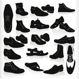 Vector black shoes. Mens modern black shoes vector Royalty Free Stock Image