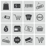 Vector black  shop icons Stock Photos