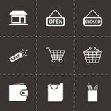 Vector black shop icons set. On black background Stock Photo