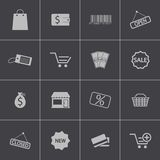 Vector black  shop icons set Royalty Free Stock Images