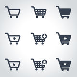 Vector black shopping cart icon set Royalty Free Stock Image