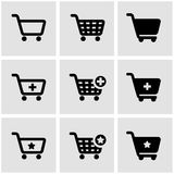 Vector black shopping cart icon set Royalty Free Stock Photos