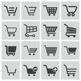 Vector black  shopping cart  icons Stock Images
