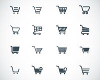 Vector black  shopping cart  icons Royalty Free Stock Images