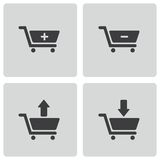 Vector black shopping cart icons set Royalty Free Stock Images