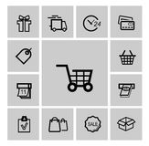 Vector black shopping icons Stock Images