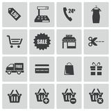 Vector black shopping icons set Royalty Free Stock Images