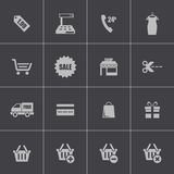 Vector black shopping icons set Royalty Free Stock Photo