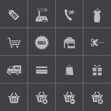 Vector black shopping icons set Royalty Free Stock Photo