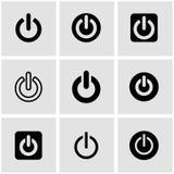 Vector black shut down icon set Stock Photos