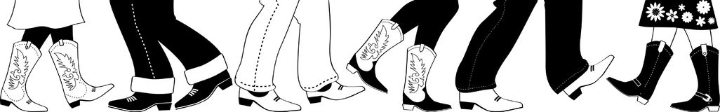 Square dance clip-art. Vector black silhouette with country dancers feet in cowboy boots, no white objects, EPS 8 Stock Images