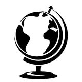 Vector black silhouette of a globe. Stock Images