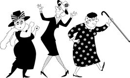 Old ladies dancing clip-art. Vector black silhouette illustration of three senior women dancing, no white objects, , EPS 8 stock illustration