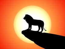 Vector black silhouette lion on rock cliff sunset vector illustration