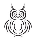 Vector black silhouette of owl Royalty Free Stock Photo