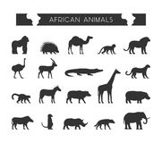 Vector black silhouettes of African animals. Royalty Free Stock Images
