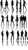 Vector black silhouettes of beautiful woman - Stock Photo