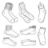 Vector Sketch Set of Different Socks. Vector Black Sketch Set of Different Socks Royalty Free Stock Photography