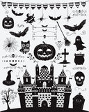 Vector Black Sketched Doodle Halloween Icons royalty free illustration