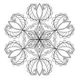 Vector black snow flake in zentangle doodle style, mandala for a Stock Photos