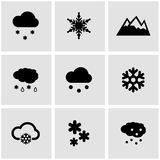 Vector black snow icon set Stock Photography