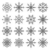 Vector black snowflake icon set. Line art Vector illustration Royalty Free Stock Photos