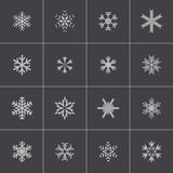Vector black snowflake icons set Stock Photo