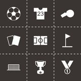 Vector black soccer icon set Royalty Free Stock Photo