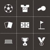 Vector black soccer icon set. On black background Royalty Free Stock Photo