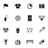 Vector black  soccer  icons set Stock Photography