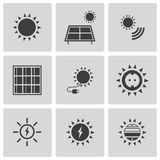 Vector black solar energy icons set Royalty Free Stock Photography