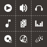 Vector black sound icons set. On black background Royalty Free Stock Images