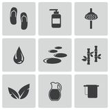 Vector black spa icons set Royalty Free Stock Image