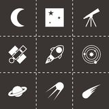 Vector black space icons set. On black background Stock Image
