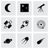 Vector black space icons set Royalty Free Stock Photos