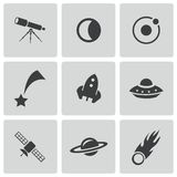 Vector black space icons set Stock Photo