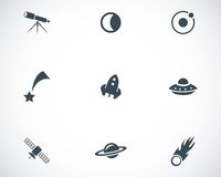 Vector black space icons set Stock Image