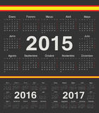 Vector black spanish circle calendars 2015, 2016, 2017. Week starts from Monday Stock Images