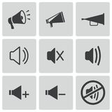 Vector black speaker icons set Stock Photography