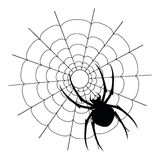 Vector black spider and web silhouette Royalty Free Stock Photos