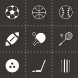 Vector black sport icons set. On black background Stock Images