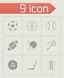 Vector black sport icons set Royalty Free Stock Images