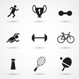 Vector black sports icons set on gray. Vector Stock Image