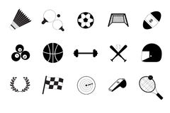 Vector black sports icons set Royalty Free Stock Image