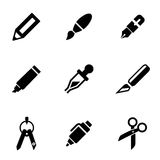 Vector black stationery and painting icon set Royalty Free Stock Photo
