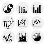 Vector black statistics icons. Icon set Stock Photo
