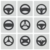 Vector black Steering wheels icons set Stock Photo